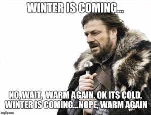 Winter is coming... no wait, warm again. Ok it's cold, winter is coming... nope, warm again.