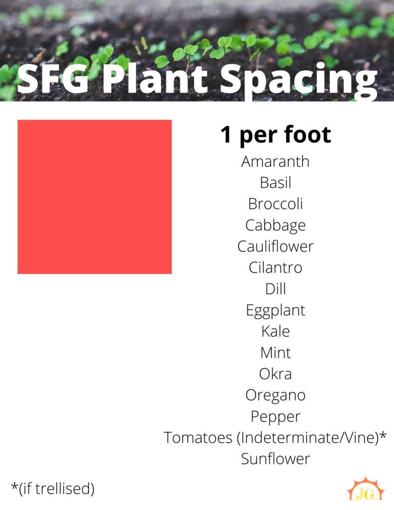 SFG plant spacing - 1 per foot for amaranth, basil, broccoli, cabbage, cauliflower, cilantro, dill, eggplant, kale, mint, okra, oregano, peppers, indeterminate tomatoes, and sunflowers