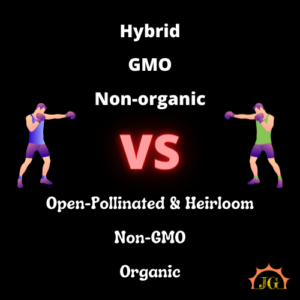Hybrid, GMO, Non-organic versus open-pollinated & heirloom, Non-GMO, and Organic